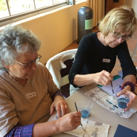 Participants painting with maya blue pigment; Photo Credit: Anu Ravi